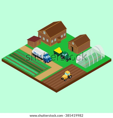 cartoon house trailer vector illustration yard farm house barn stock vector 385419982