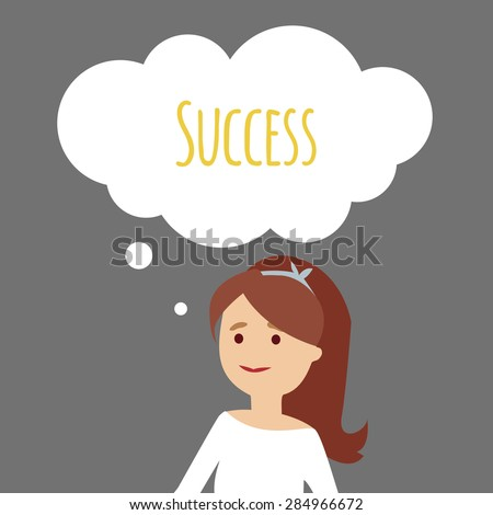 Vector illustration. The young women thinks about success.