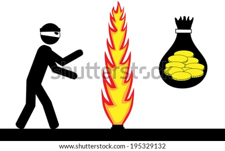Vector/Illustration. Thief trying to steal money, but is stopped by firewall. - stock vector