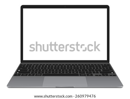 Vector illustration, thin Laptop with blank screen isolated on white background, in grey color of aluminium body. - stock vector