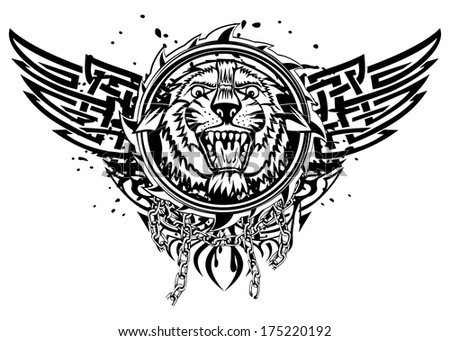 Vector illustration tiger head and abstract patterns