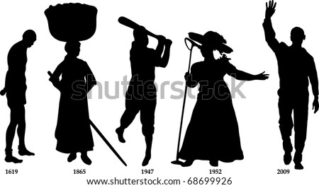 Vector Illustration time line for Black History month. Slavery from 1619-1865, Jackie Wilson in 1947, Mahalia Jackson in 1952 and Barack Obama became president in 2009. - stock vector