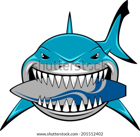 Vector illustration, toothy white shark - stock vector
