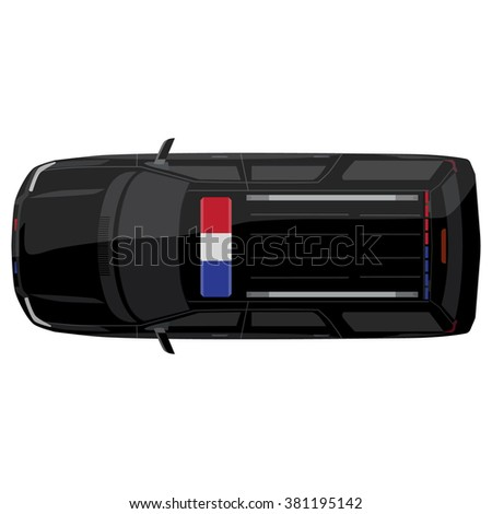 Vector illustration top view of a police car with bright police lights - stock vector