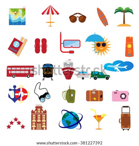 Vector illustration tourism and vacation .Flat icons set tourism and journey objects and passenger luggage. - stock vector