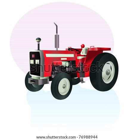 Vector illustration, tractor icon, card concept, white background. - stock vector
