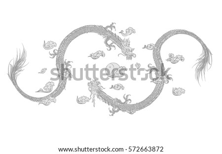Vector Illustration Traditional Chinese Dragon Grey Stock Vector ...