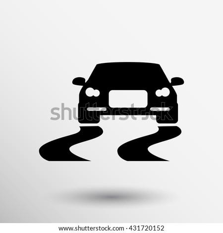 Vector illustration traffic sign for slippery road. - stock vector