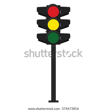 Vector illustration traffic signs. Traffic signal. Traffic light. Green, yellow and red - stock vector