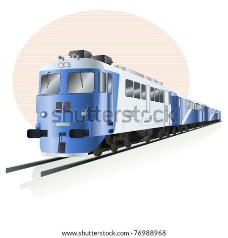 Vector illustration, train icon, card concept, white background. - stock vector