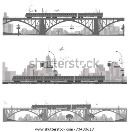 Vector illustration.Train on a bridge .City scape silhouette - stock vector