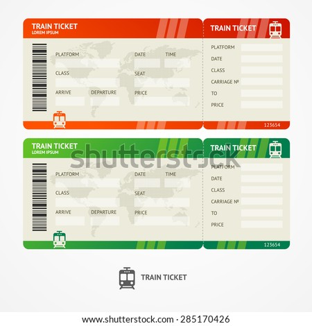 Vector illustration train tickets. Travel concept. Isolated on white.  - stock vector