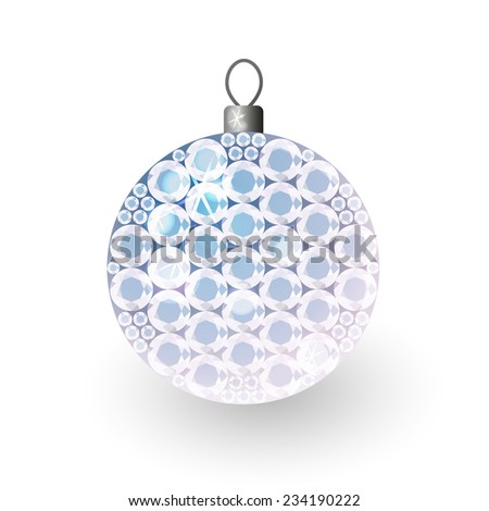 Vector illustration: translucent clouded shiny christmas 3d decorative ball made of blue crystals - stock vector