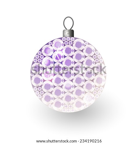 Vector illustration: translucent clouded shiny christmas 3d decorative ball made of purple crystals - stock vector