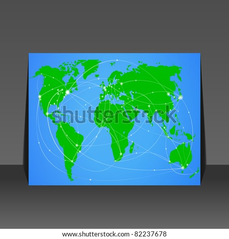 Vector illustration travel world map flyer design - stock vector