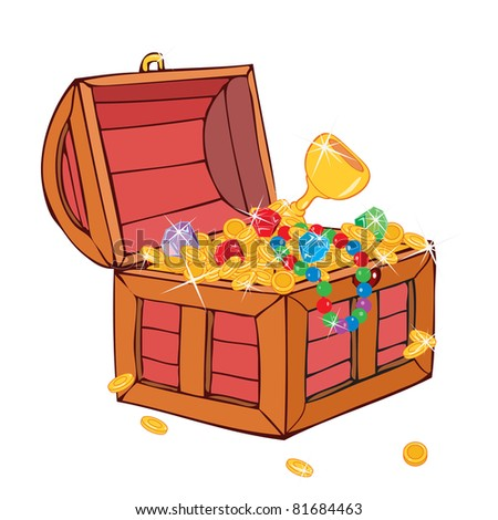Vector illustration, treasure in a chest, card concept, white background. - stock vector