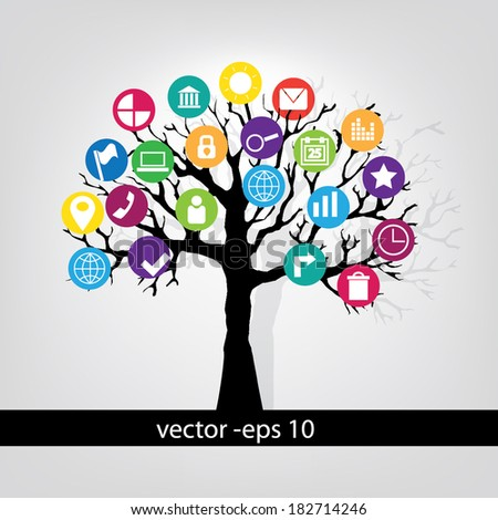 Vector illustration. Tree with infographics colorful application.