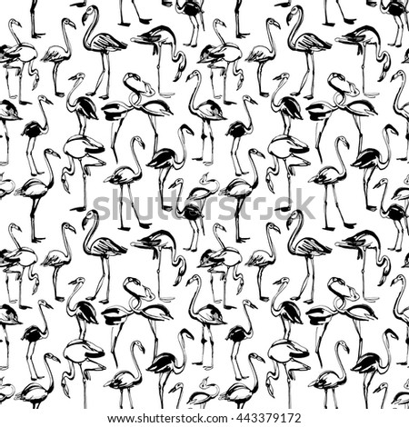 Vector illustration  Tropical exotic birds flamingos summer seamless pattern. Black and white