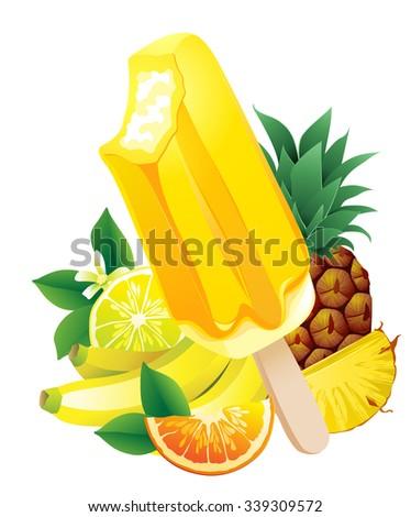 Vector illustration Tropical fruits banana, pineapple, orange, lemon, popsicle Ice-cream. Summer flavor - stock vector