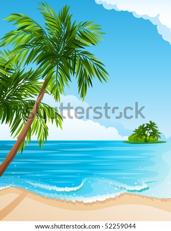 Vector illustration - Tropical landscape with beach, sea and palm trees - stock vector