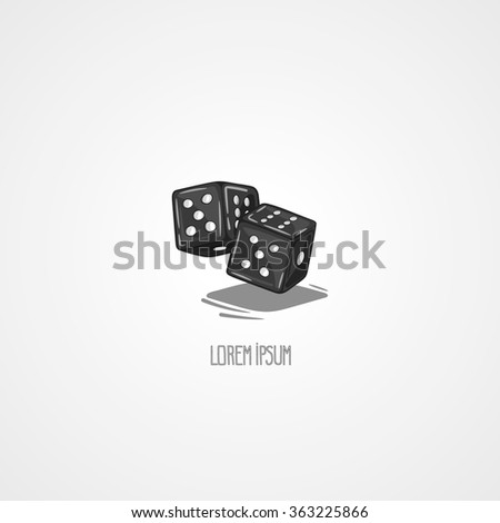 Vector illustration two dice. Symbol of gambling and luck. Game in casino. Hand drawn symbol - stock vector