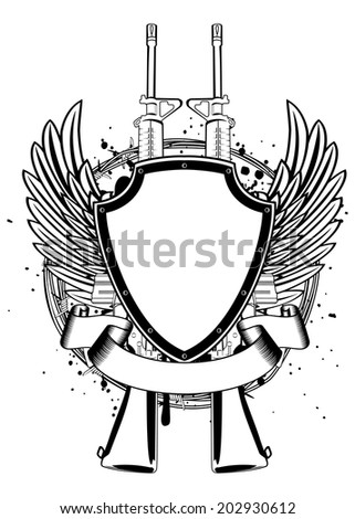 Vector illustration two machine guns, wings, barbed wire and shield  - stock vector