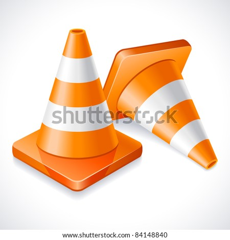 Vector illustration - two orange traffic cones - stock vector