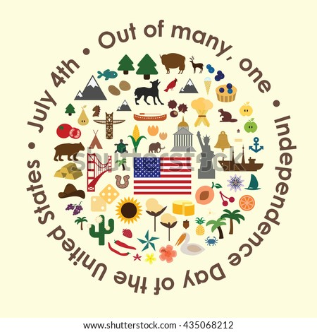"""vector illustration / united states independence day greeting card / states symbols in circle design with a phrase  """"Out of many, one"""" around the shape - stock vector"""