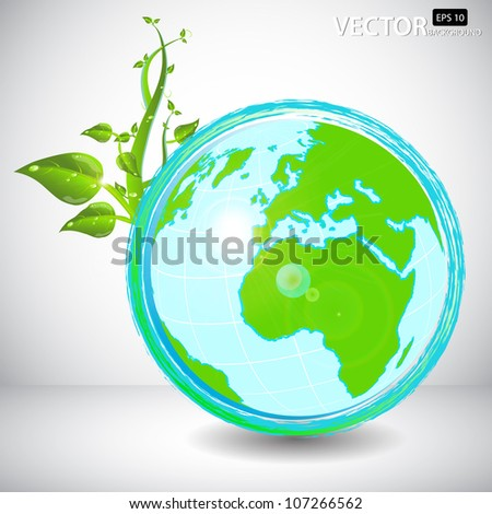 Vector Illustration: Vector beautiful eco globe - stock vector