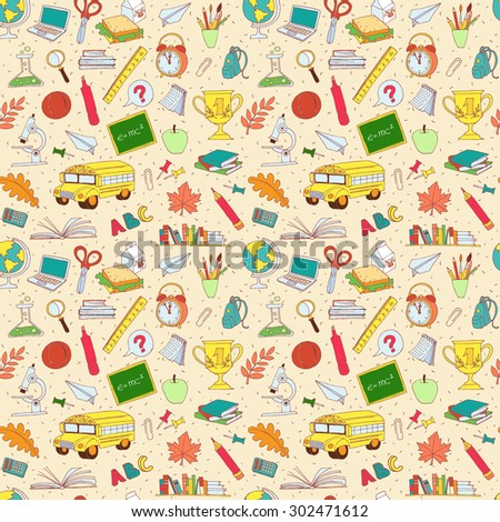 Vector illustration  Vector illustration Back to school seamless pattern of kids doodles with bus, books, computer, blackboard and world map - stock vector