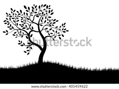Vector Illustration : Vector tree silhouette - stock vector