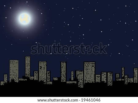 "vector illustration ""view of night city"" - stock vector"
