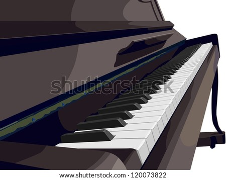 Vector illustration view of vertical piano sideways with row key.