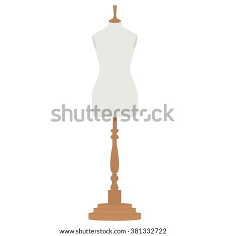 Vector illustration vintage female tailor's mannequin. Fashion mannequin. Sewing mannequin - stock vector