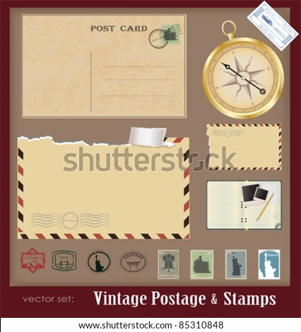 Vector illustration .Vintage postage and stamps - stock vector