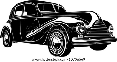 Vector illustration vintage retro automobile. Isolated on white background. - stock vector