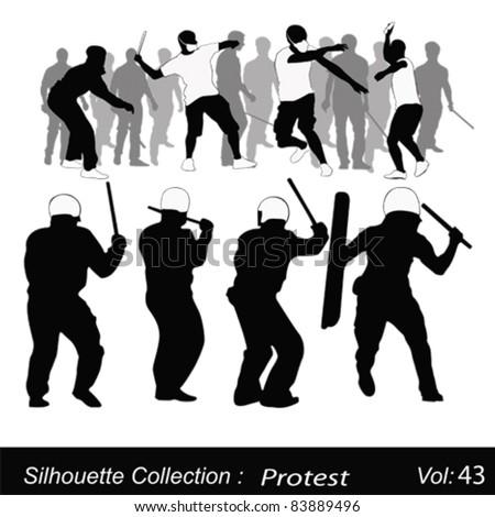 Vector illustration.Violent protest - stock vector