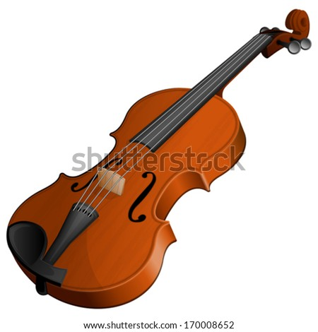 Vector illustration violin isolated on white background - stock vector
