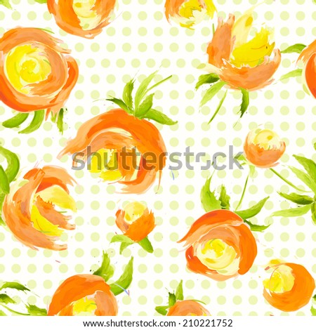 Vector illustration. watercolor floral seamless pattern. Blots and splashes. - stock vector