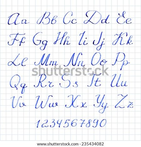 Vector illustration. Watercolor or aquarelle blue font. Hand-drawn calligraphic ink alphabet with numbers.  - stock vector