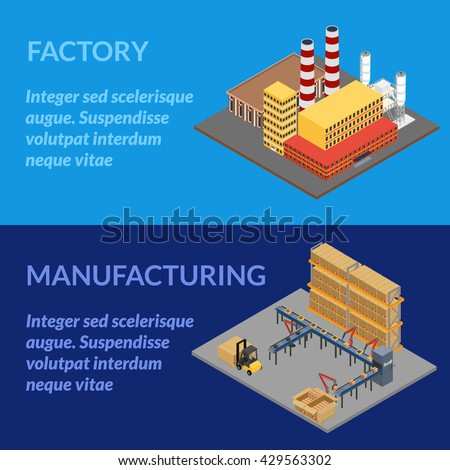vector illustration. Web banner manufacturing. Automatic robotic conveyor line, box with  production, forklift. Factory building with pipes. isometric, infographics, 3D   - stock vector