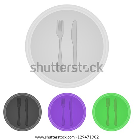 Vector illustration web  buttons  -  fork and  knife - stock vector