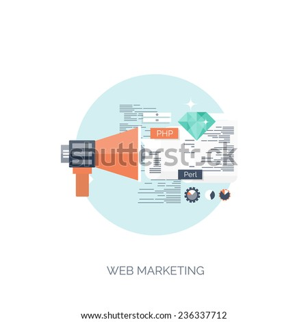 Vector illustration. Web marketing. Flat computing background. Programming and coding. Web development and search. Search engine optimization. Innovation and technologies. Mobile app. - stock vector