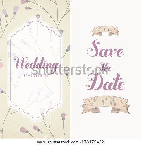 Vector illustration. Wedding invitation card. Card is editable with background flower, font, type, ribbons and heart vector