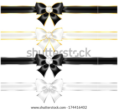 Vector illustration - white and black bows with diamonds gold edging and ribbons.  Created with gradient mesh and blending modes. - stock vector