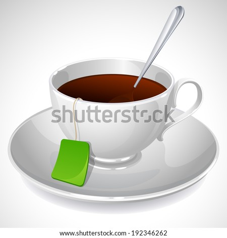 Vector illustration - white cup of tea - stock vector