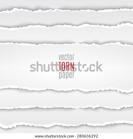 Vector illustration white torn paper. Template background - stock vector