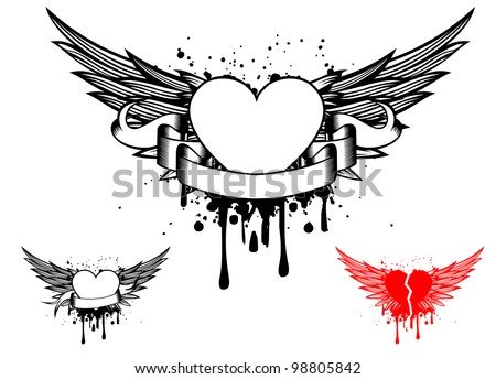 Vector illustration wings and heart - stock vector