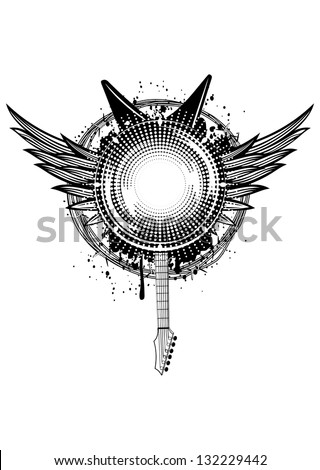 Vector  illustration wings, guitars and barbed wire - stock vector