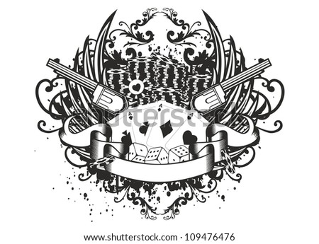 Vector illustration wings revolvers and cards - stock vector